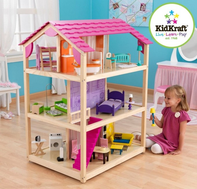 Amazing Kidkraft Dollhouse Made Of Wood With Pink Roof On Wooden Floor Which Matched With Blue Wall With Window And White Curtain For Nursery Decor Ideas
