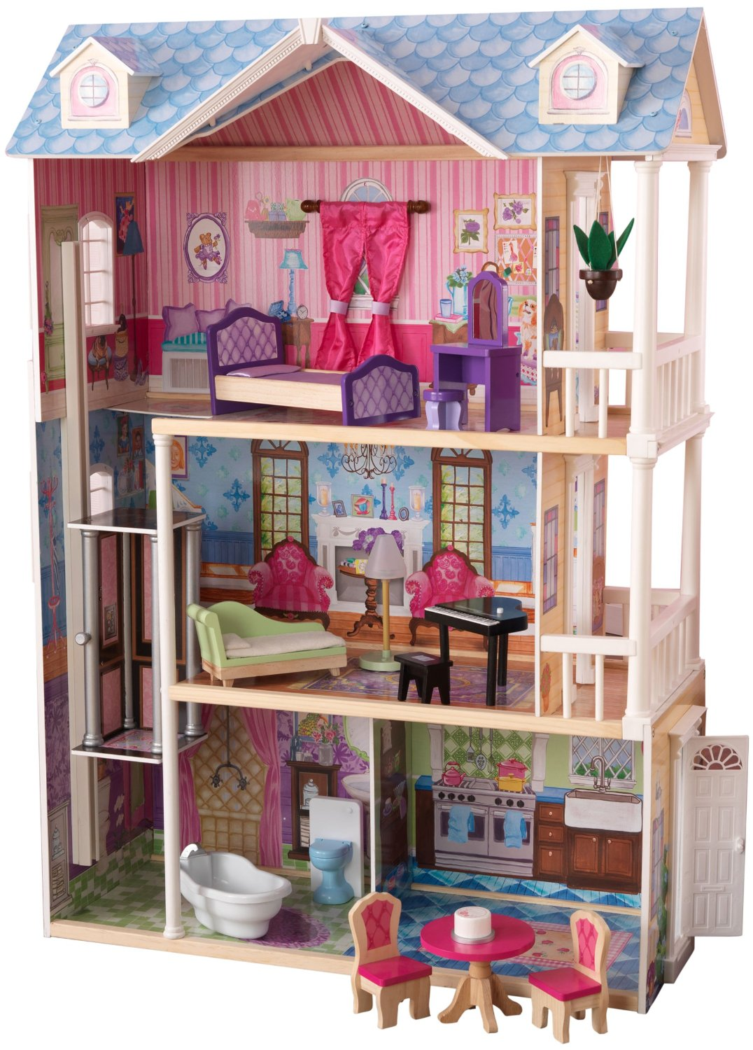 amazing kidkraft dollhouse made of wood with triple tier design and living room on the second floor for nursery decor ideas