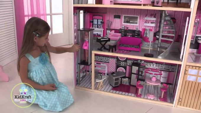Amazing Kidkraft Majestic Mansion Dollhouse 65252 Made Of Wood On Tile Floor For Kids Play Room Decor Ideas