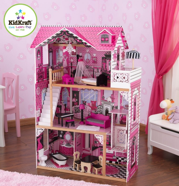 Amazing Nursery Decor With Pink Wallpaper And Wooden Floor Plus Pink Rug And Kidkraft Dollhousemade Of Wood In Pink Theme And Triple Tier Design