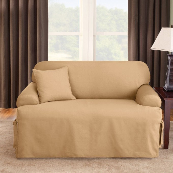 Amazing Sofa With Cream Surefit Cover On Beige Rug Plus Wooden Nightstand And Table Lamp For Living Room Decor Ideas