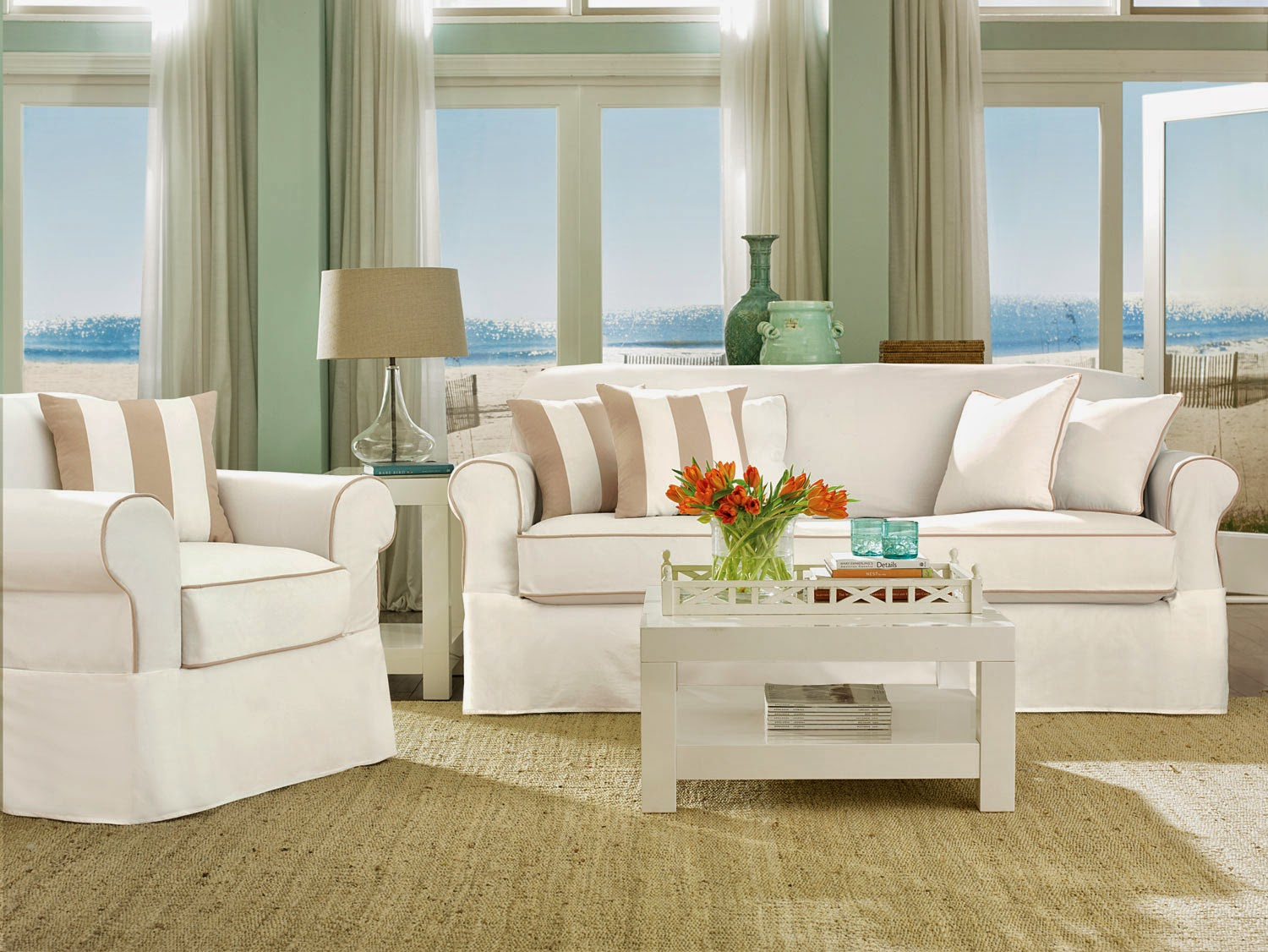 amazing sofa with white surefit cover on wooden floor which matched olive wall for living room decor ideas