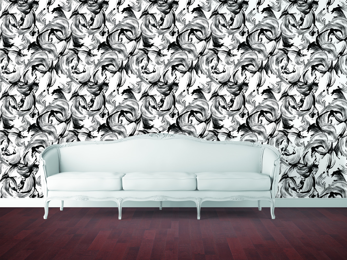 Amour Self Adhesive Wallpaper in White and Black design by tempaper wallpaper matched with brown wooden floor plus white sofa for interesting living room decor ideas