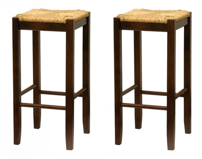 Amusing 29 Inch Rush Seat Walnut Finish Set Of 2 Cymax Bar Stools For Home Furniture Ideas