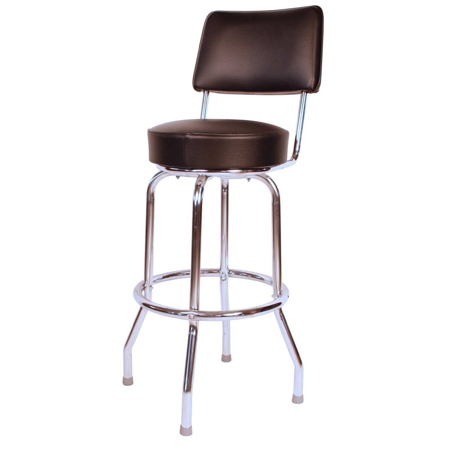amusing swivel cymax bar stools with brown leather seat and back plus metal legs for inspiring home furniture ideas