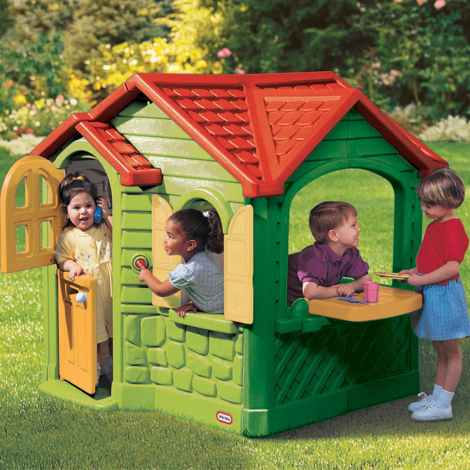 Antique Little Tikes Playhouse With Greed Siding And Red Roof For Playground Decor Ideas