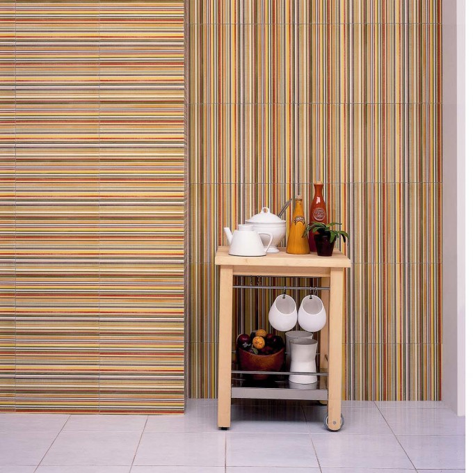 Aquarelle Ceramic Wall Tile In Red Insert Stripes By Interceramic Tile Matched With White Tile Floor For Charming Interior Design Ideas