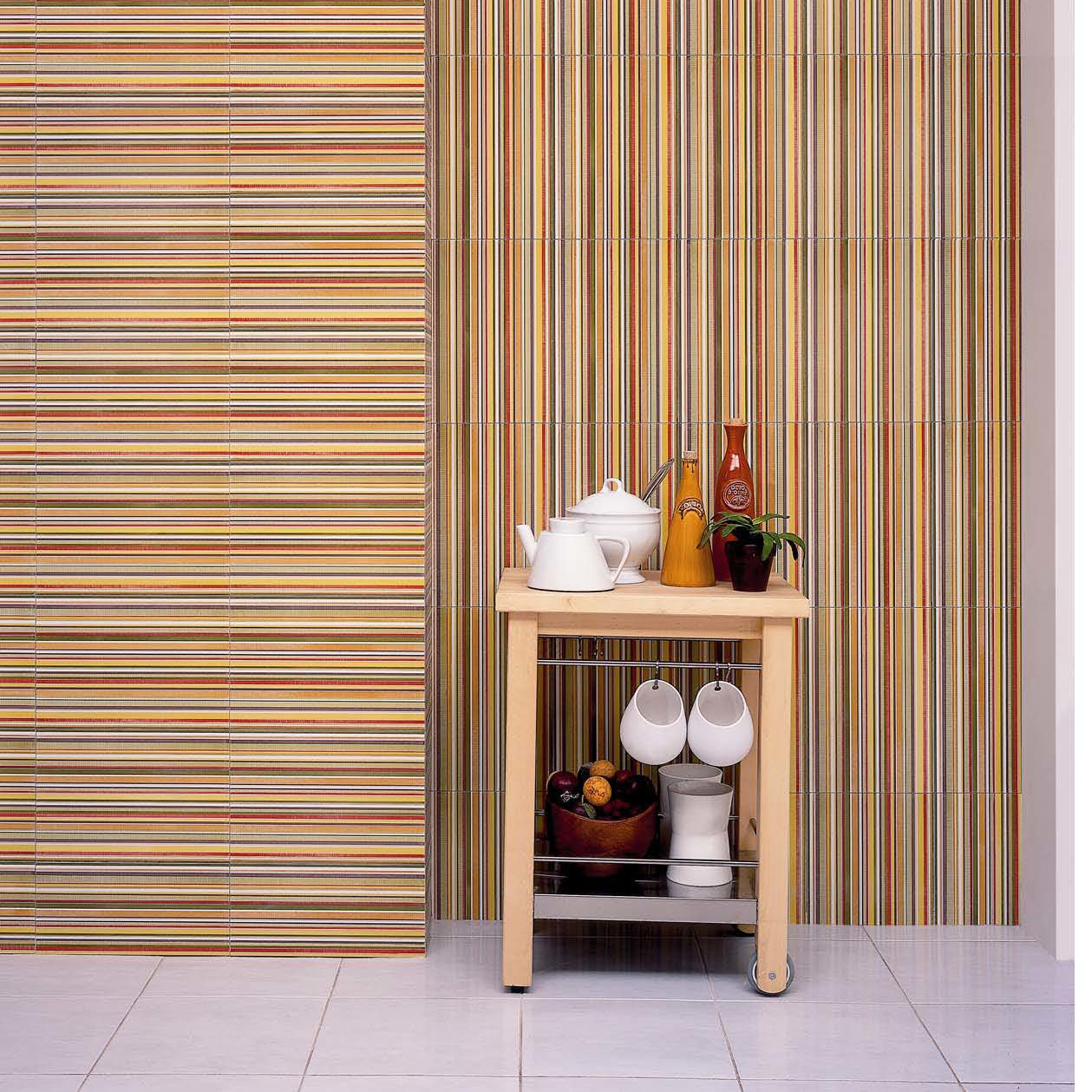 Aquarelle Ceramic Wall Tile In Red Insert Stripes By Interceramic Tile  Matched With White Tile Floor
