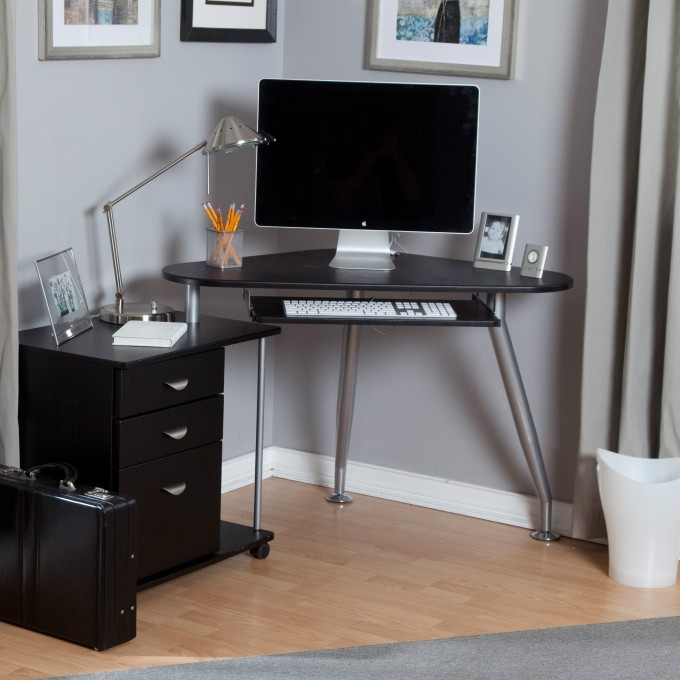Attractive Home Office Design Ideas With Black Fireproof File Cabinet And Desk On Wooden Floor Which Matched With Gray Wall Plus Gray Curtains
