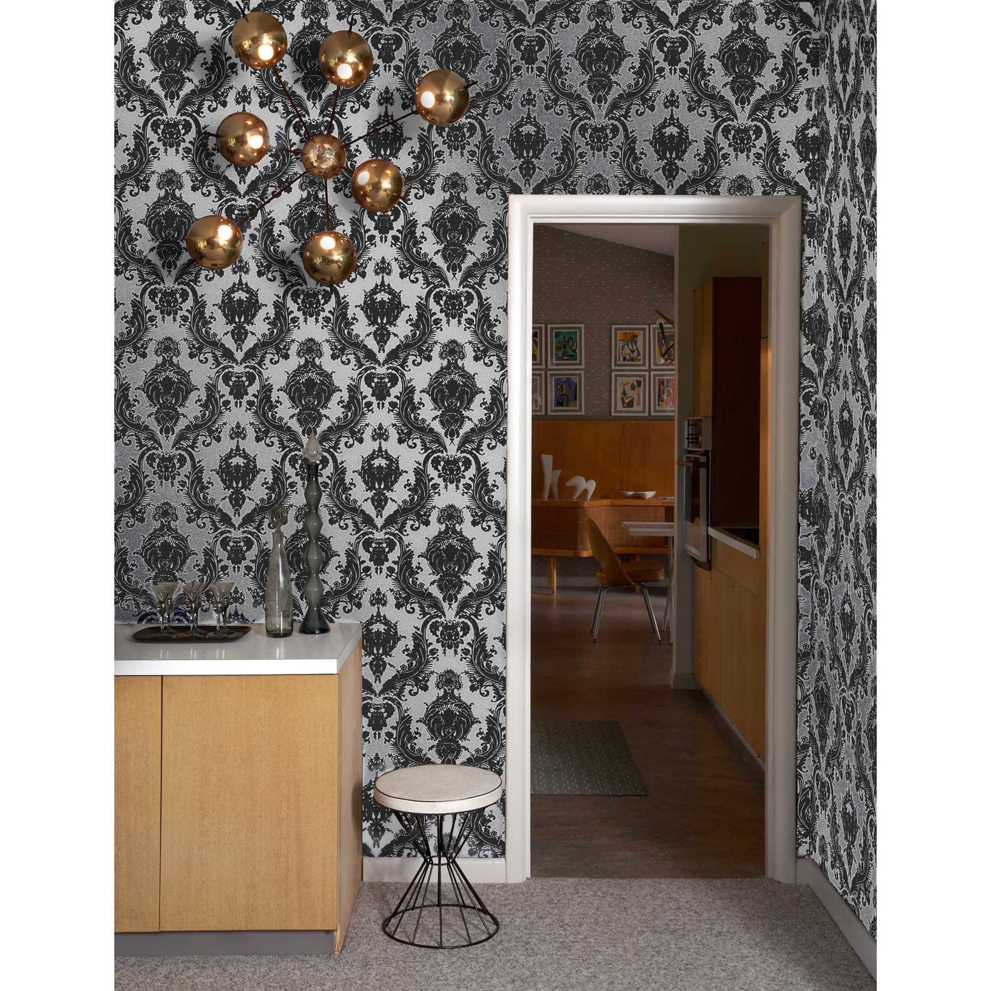 aweosome tempaper wallpaper in floral patten and white black theme matched with gray floor and white trim board door for interesting interior design ideas