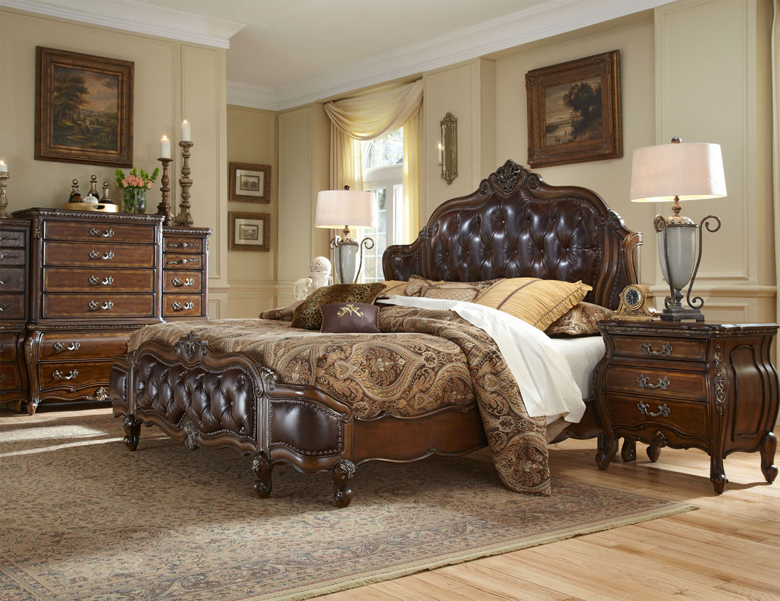 awesome bed in brown by aico furniture on wooden floor with rug for bedroom decor ideas