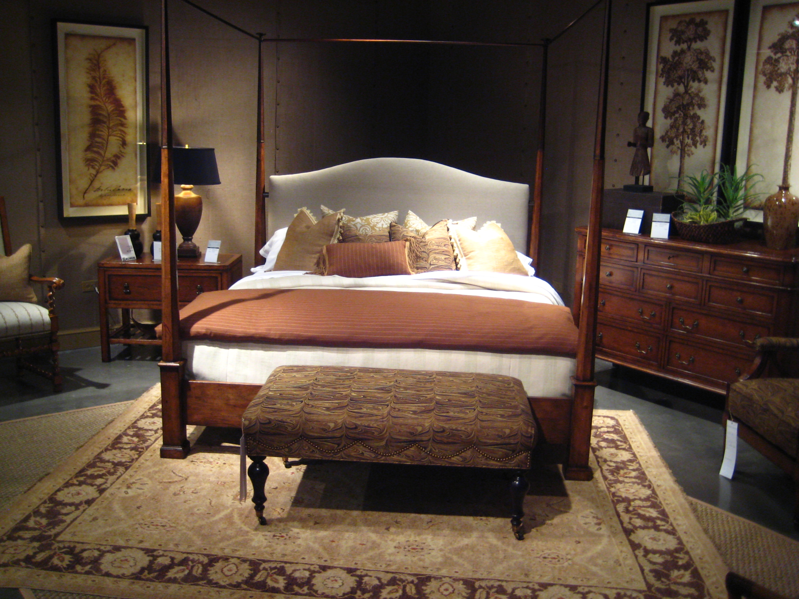 Awesome Bedroom Design With Wooden Bed On Momeni Rugs Plus Brown Wooden Dresser Ideas