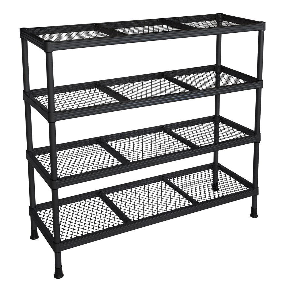 awesome black Edsal Shelving in four tier design made of iron for garage furniture ideas