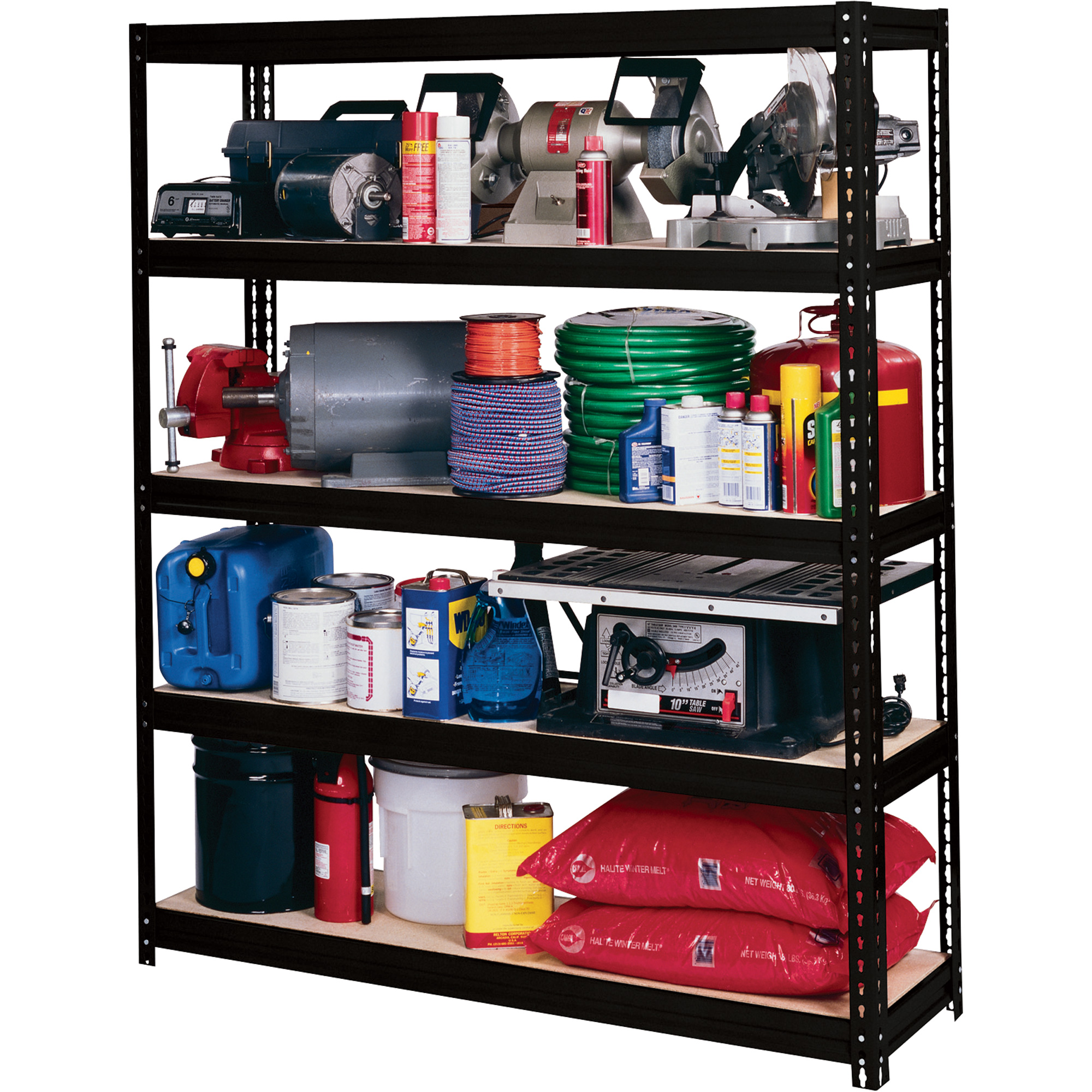 Awesome Black Edsal Shelving In Four Tier Design Made Of Steel For Garage Furniture Ideas