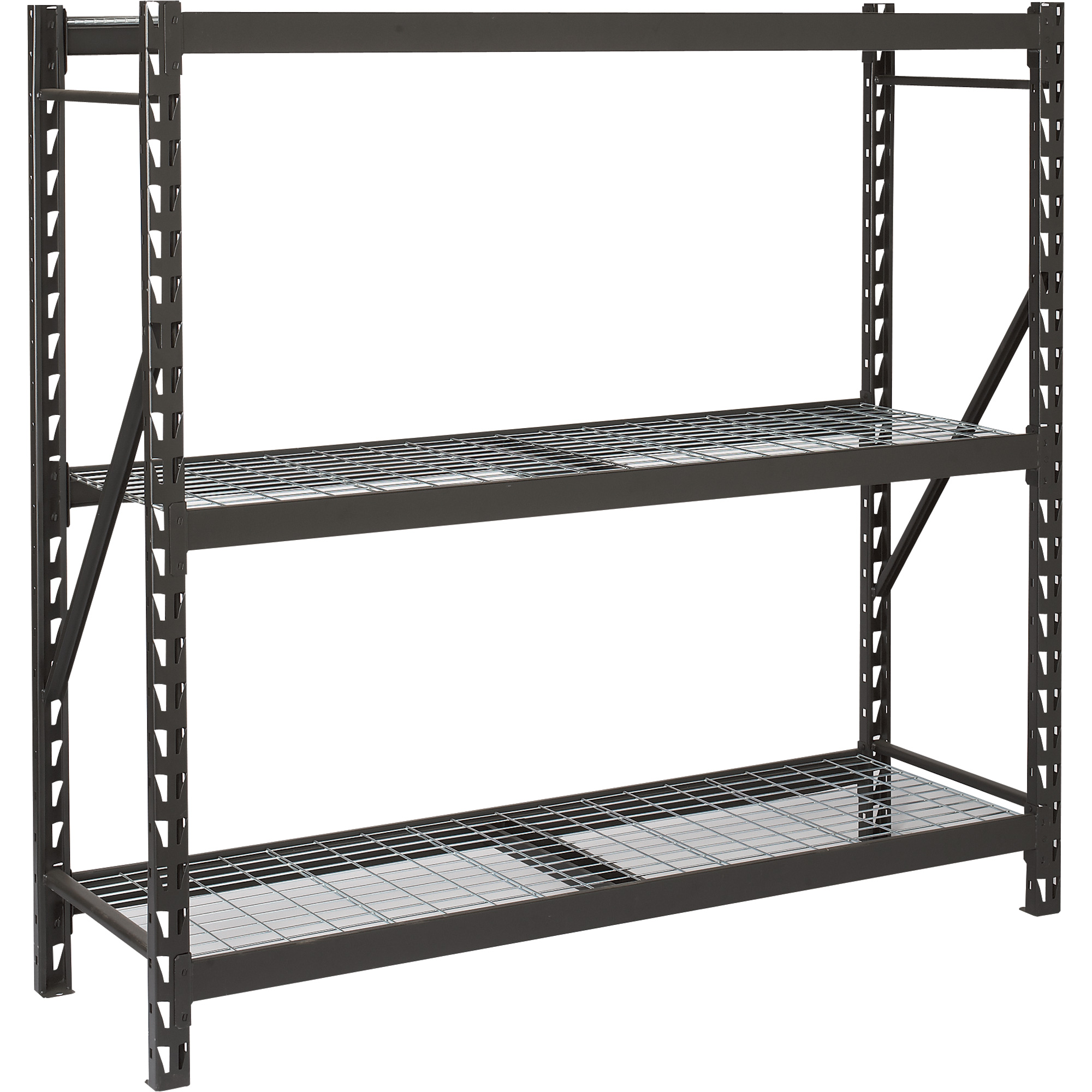 Awesome Black Edsal Shelving In Triple Tier Shelf Made Of Iron For Home Furniture Ideas