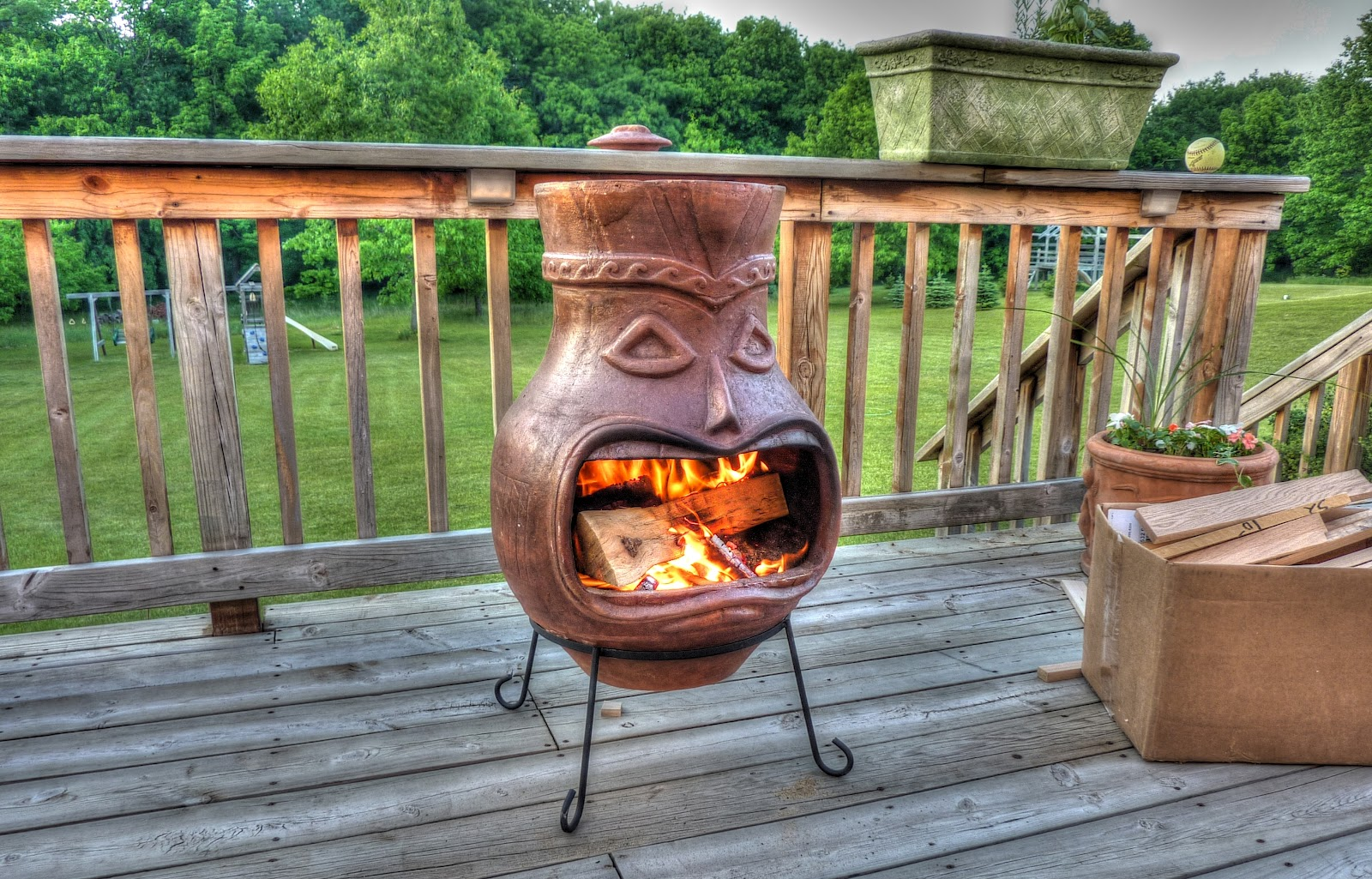 Awesome Brown Clay Chiminea Outdoor Fireplace With Head Design For Patio Furniture Ideas