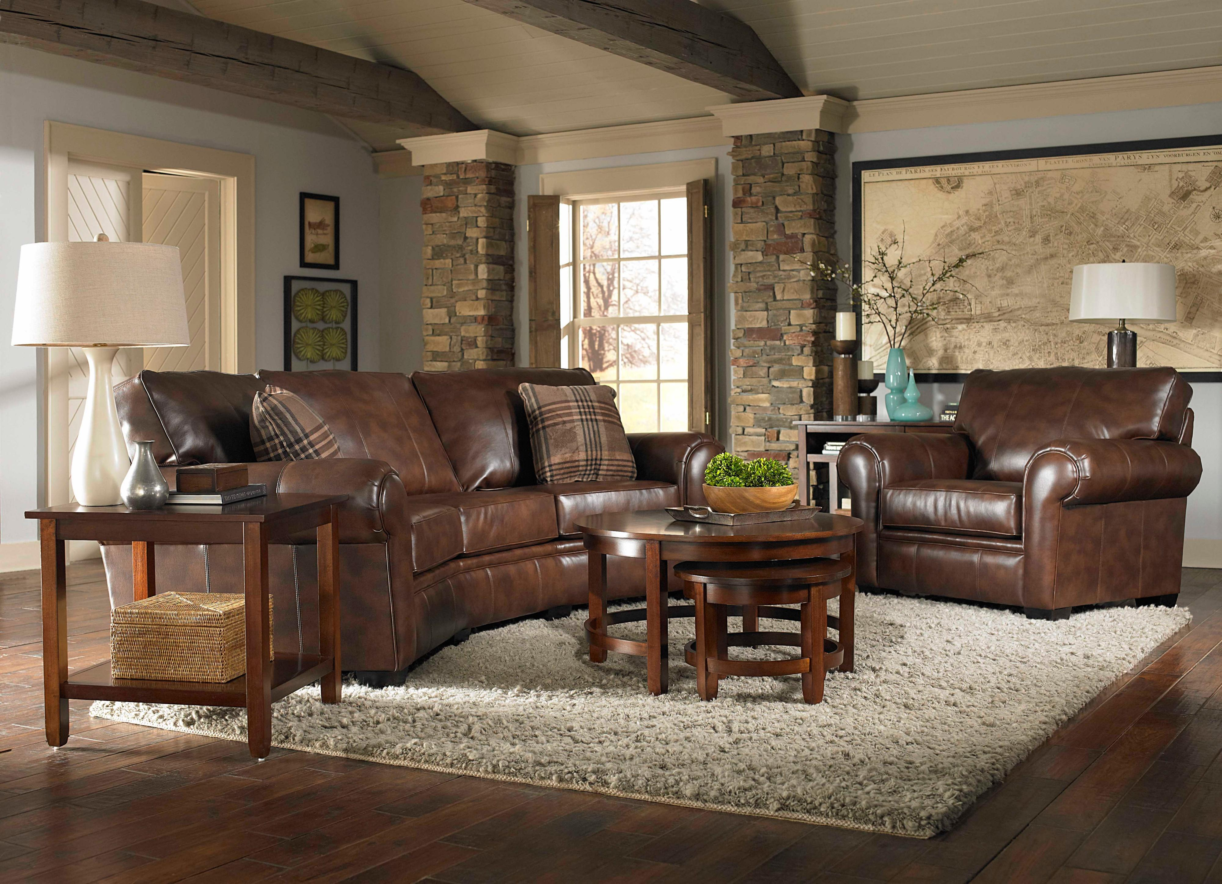 awesome brown leather sofa by broyhill furniture on wooden floor with gray rug for living room decor ideas