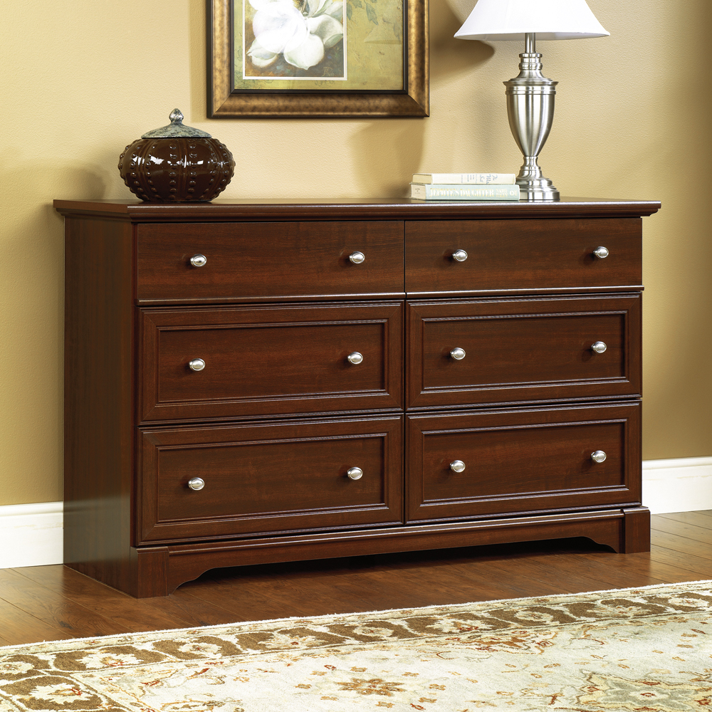 awesome brown wooden dresser by sauder furniture on wooden floor with rug for living room decor ideas