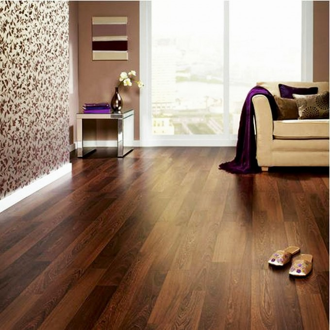 Awesome Brown Wooden Mohawk Flooring Matched With Tan Wall Plus Cream Sofa For Living Room Decor Ideas