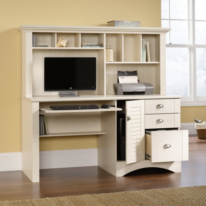 Awesome Computer Desk With Hutch By Sauder Furniture On Wooden Floor Which Matched With Yellow Wall For Home Office Decor Ideas