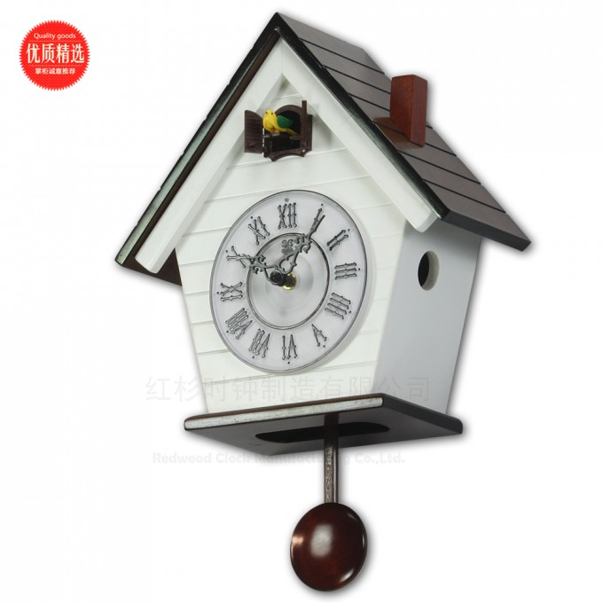 Awesome Cuckoo Clock In White Home With Black Roof Design For Home Accessories Ideas