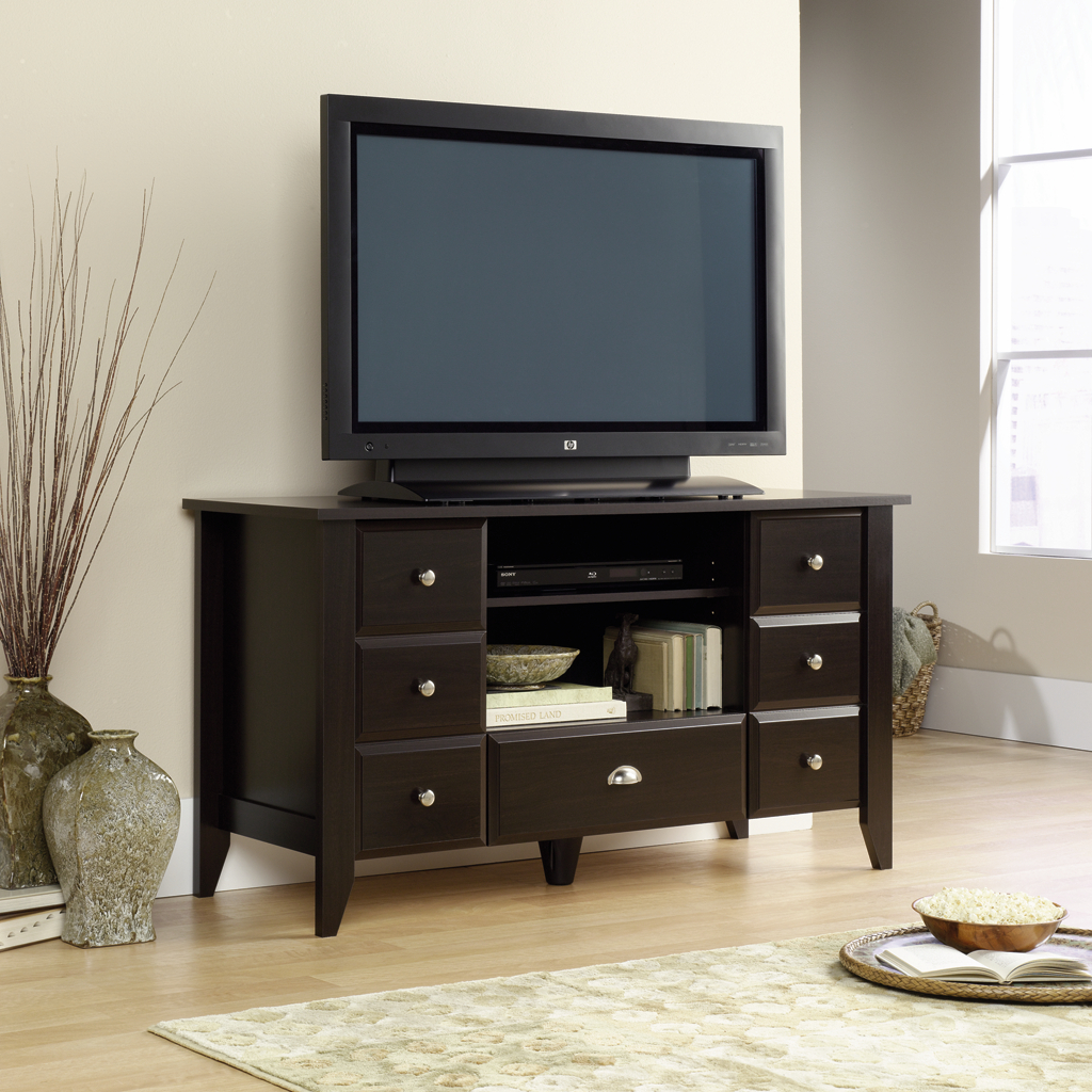 awesome dark wooden tv stand by sauder furniture on wooden floor which matched with gainsboro wall for living room decor ideas