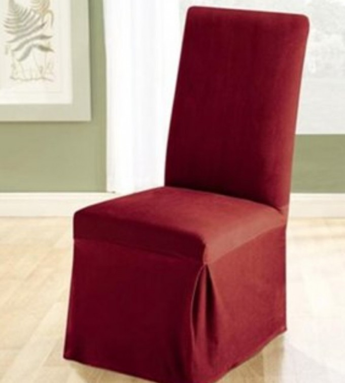 Awesome Dining Chair With Red Surefit Cover For Dining Room Furniture Ideas