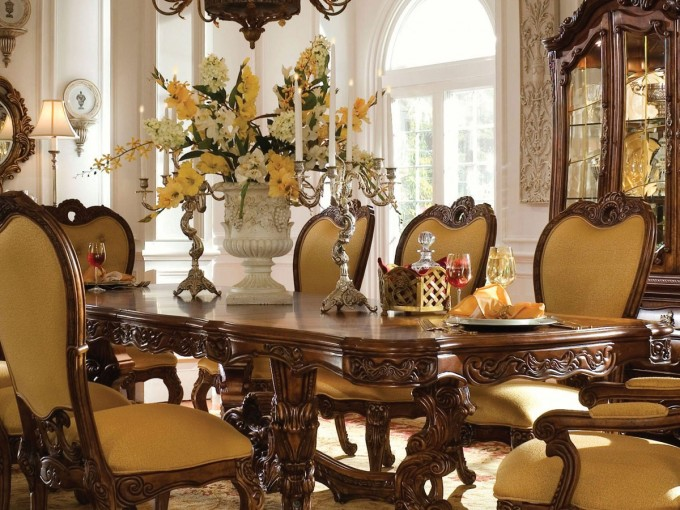 Awesome Dining Table Set With Wooden Table And Yellow Seat And Back On Chair By Aico Furniture For Dining Room Decor Ideas