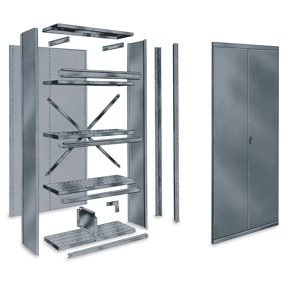Use Edsal Shelving At Your Garage To Save Your Tools: Awesome Edsal Shelving In Gray Made Of Steel With Door For Garage Furniture Ideas
