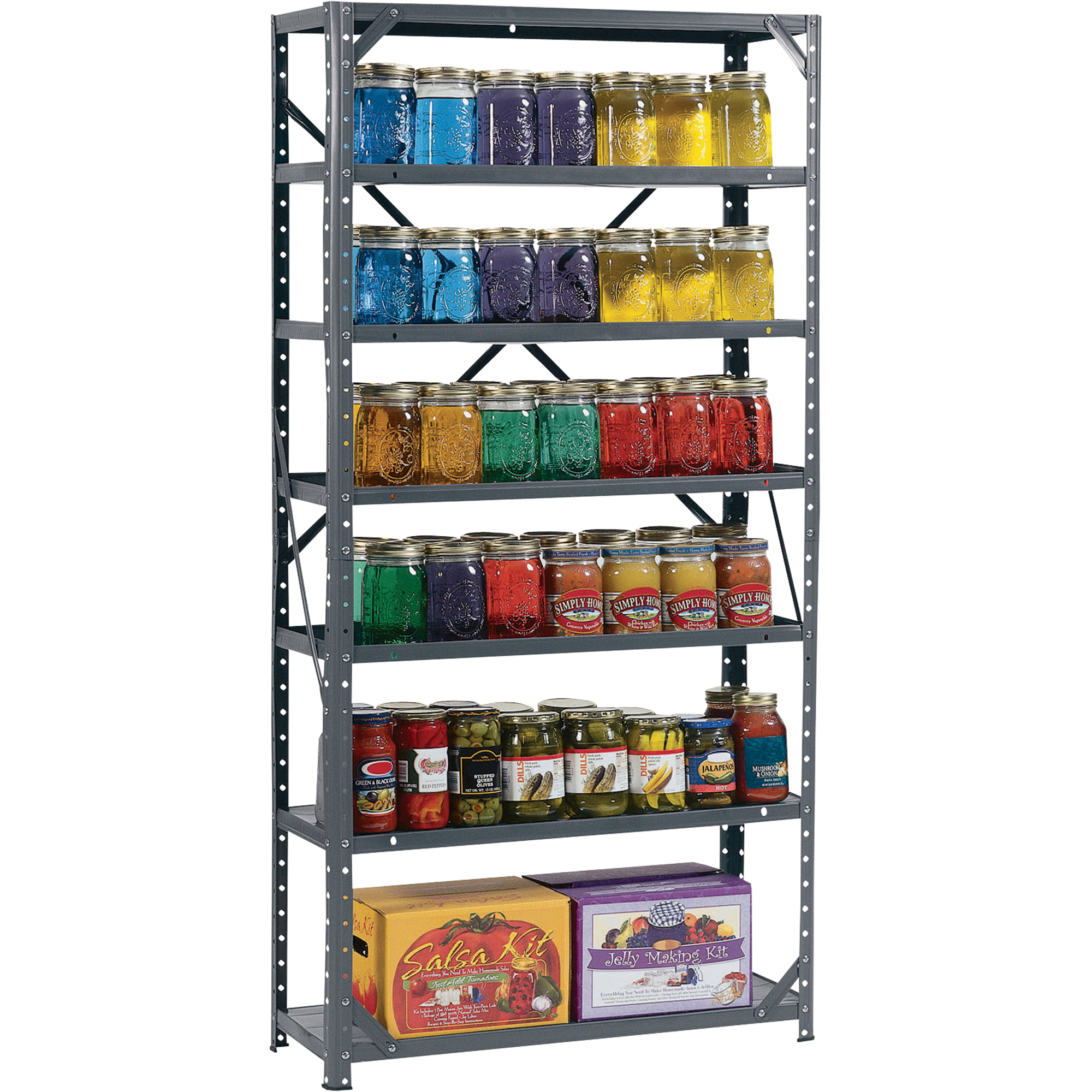 Awesome Edsal Shelving In Six Tier Design Made Of Iron For Garage Furniture Ideas