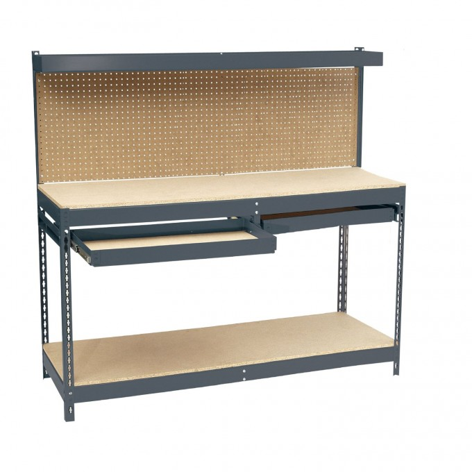 Awesome Edsal Shelving With Hutch And Drawers Made Of Steel For Garage Furniture Ideas