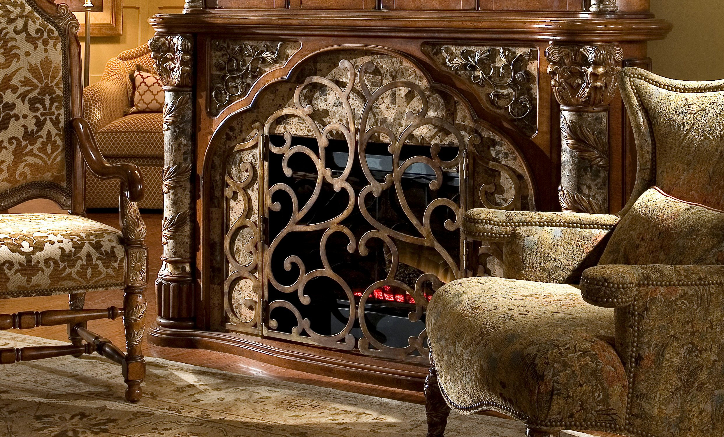 awesome fireplace in brown with awesome carving by aico furniture for home decoration ideas