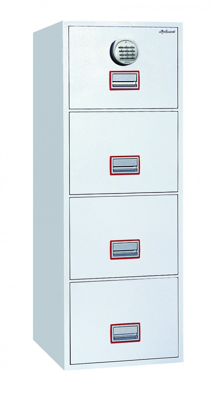 Awesome Fireproof File Cabinet In Aqua Color With Four Drawers And Combination Lock For Safety Data Ideas