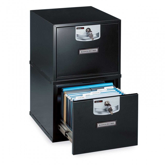 Awesome Fireproof File Cabinet In Black And Double Tier For Home Office Furniture Ideas