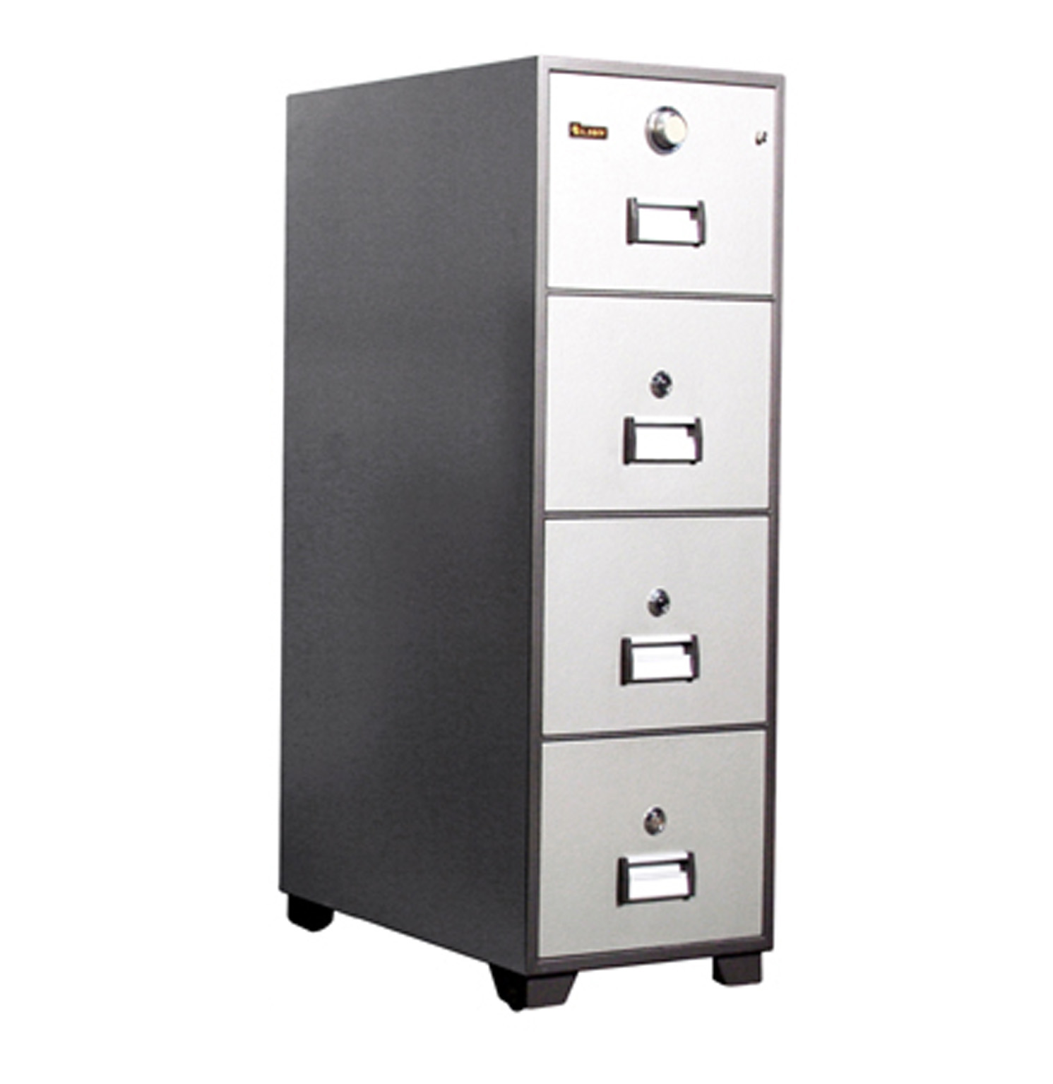 awesome fireproof file cabinet in four drawers design with four small legs for home office furniture ideas