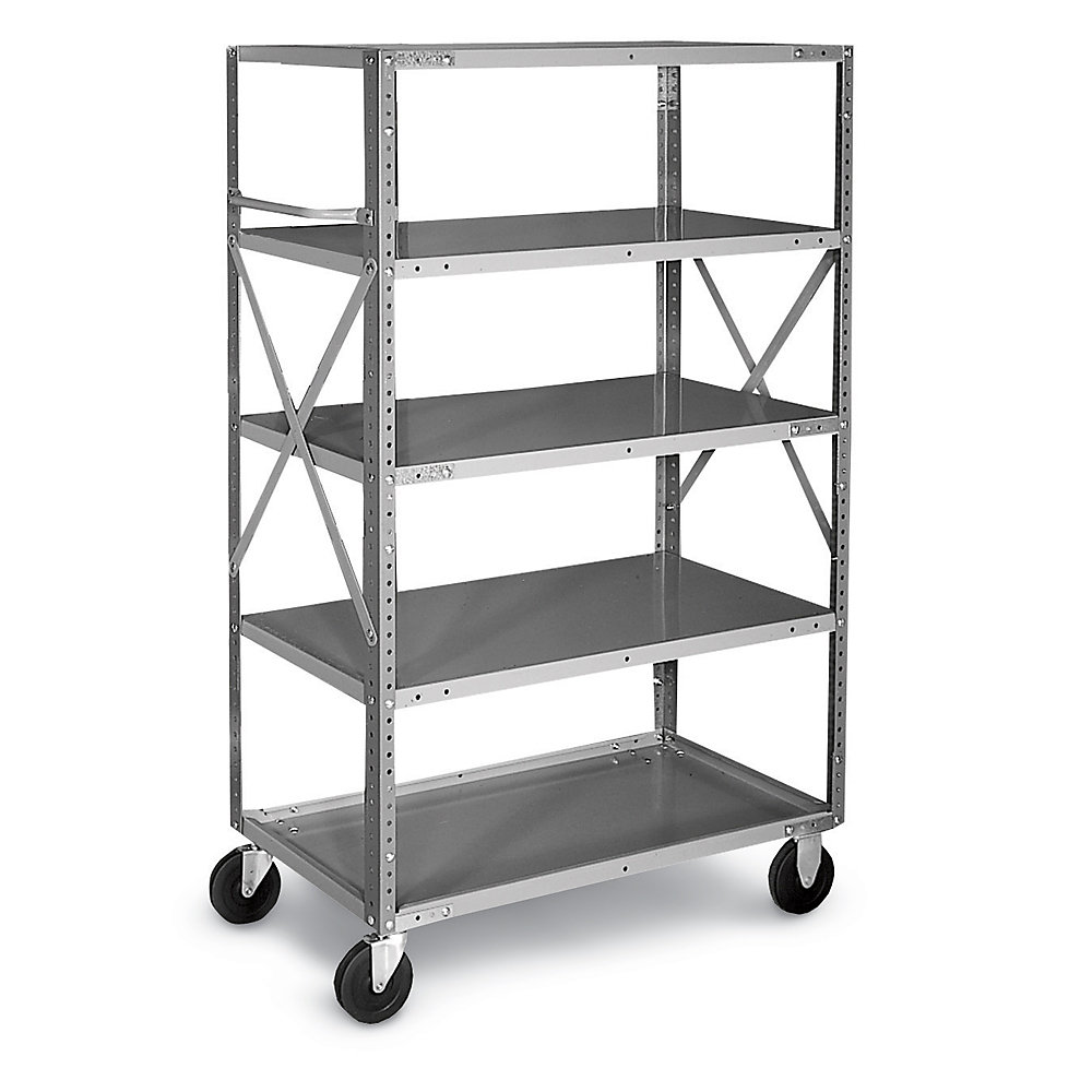 awesome gray Edsal Shelving in five tier design made of steel with wheels for garage furniture ideas