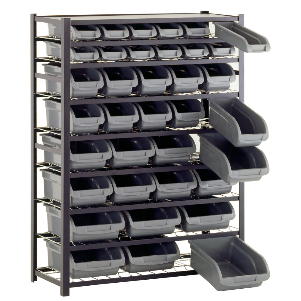 awesome gray Edsal Shelving made of steel with gray bin for garage furniture ideas