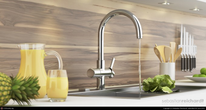 Awesome Grohe Faucets In Silver With Sink For Kitchen Decor Ideas