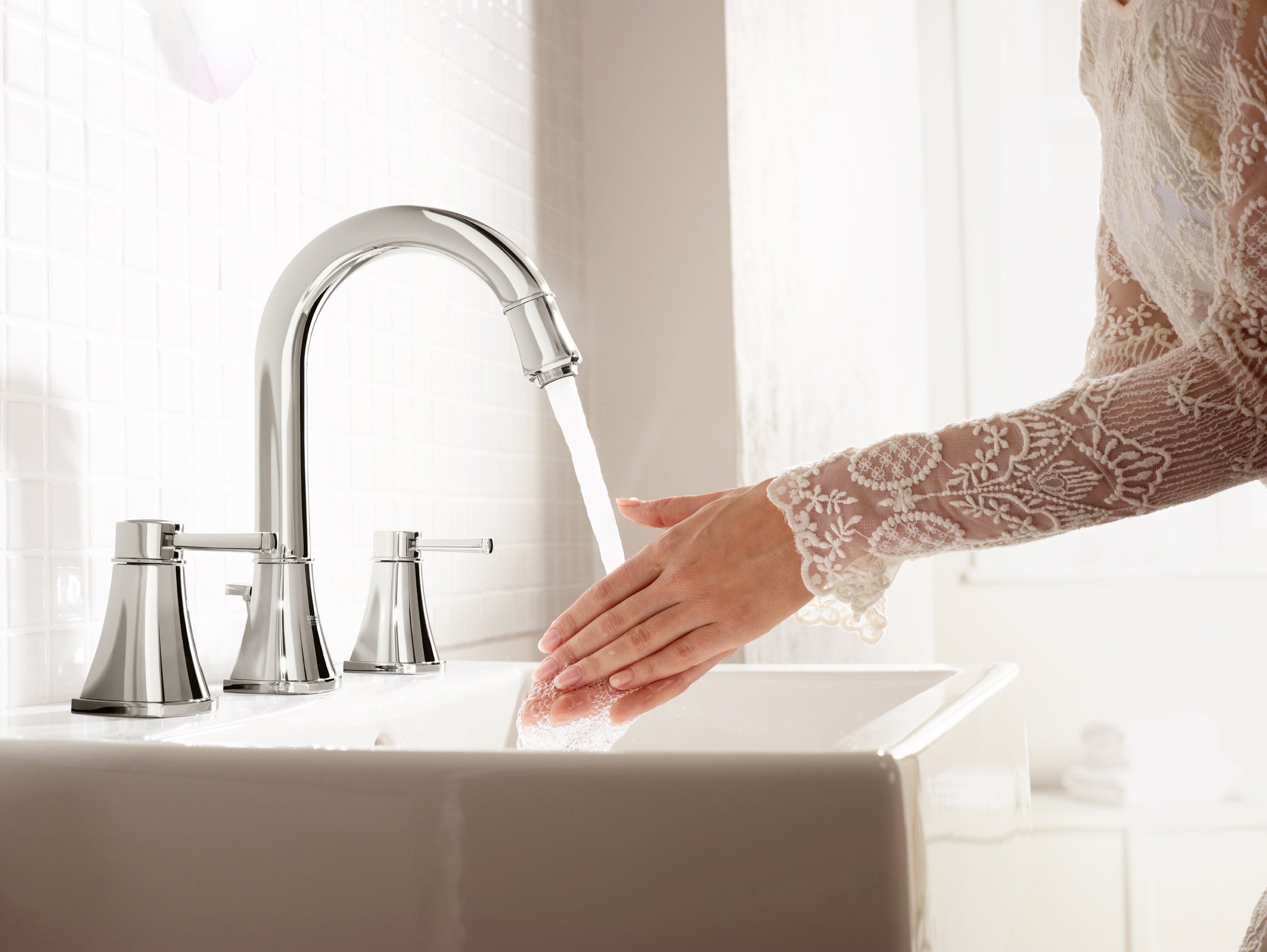 awesome grohe faucets with double handle plus sink for bathroom decor ideas