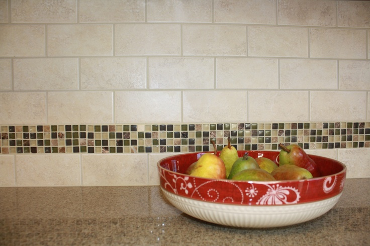 awesome interceramic tile backsplash matched with granite countertop for kitchen decor ideas