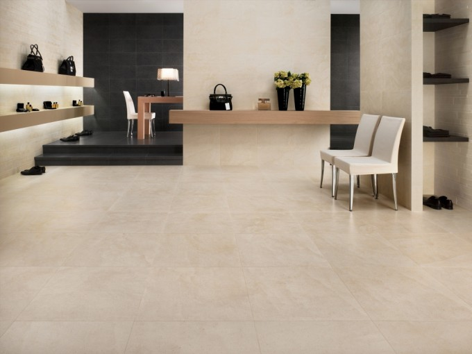 Awesome Interceramic Tile Floor And Matching Wall Decor For Interesting Interior Design Ideas