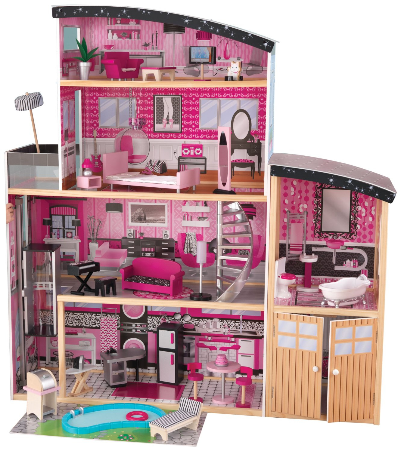 Awesome Kidkraft Dollhouse In Four Tier Design With Garage Made Of Wood For Nursery Decor Ideas