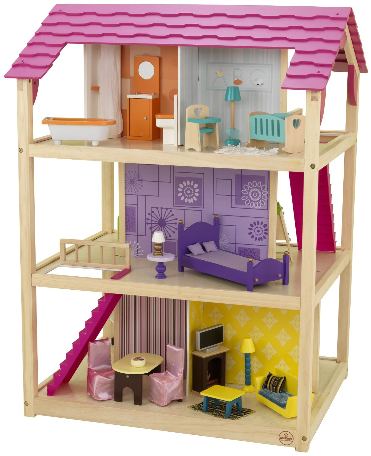 awesome kidkraft dollhouse in triple tier design with pink roof for nursery decoration ideas