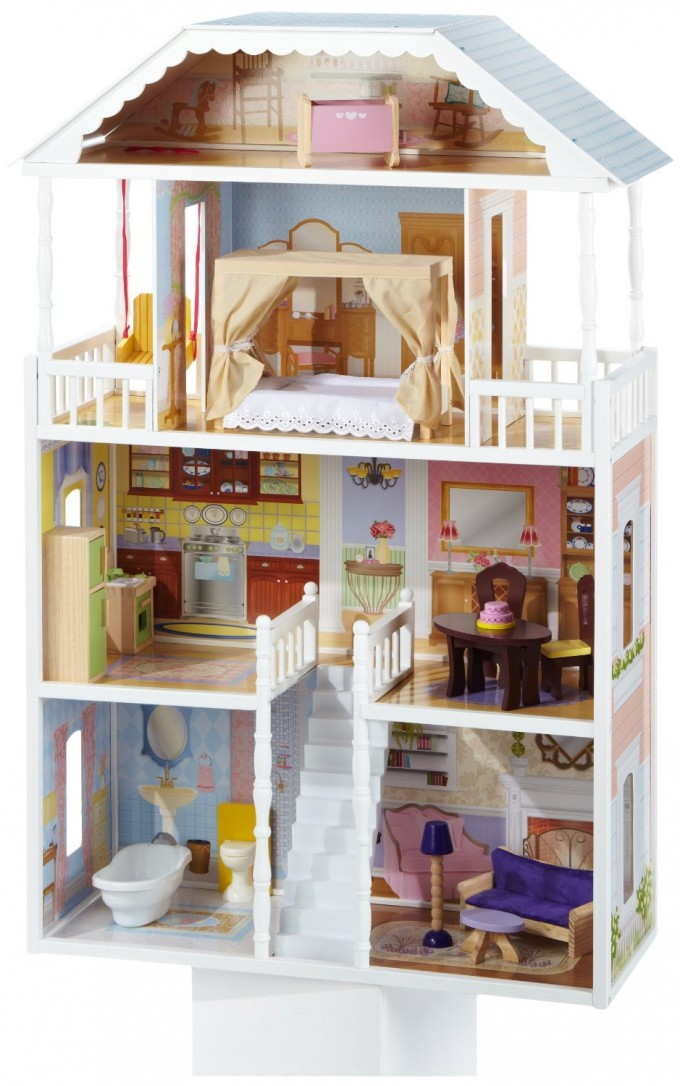 Awesome Kidkraft Dollhouse In White Theme With Triple Tier Design And Bedroom On The Top For Nursery Decor Ideas