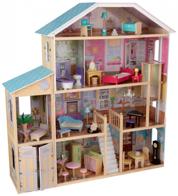 Awesome Kidkraft Dollhouse Made Of Wood In Four Tier Design With Blue Roof For Nursery Decor Ideas