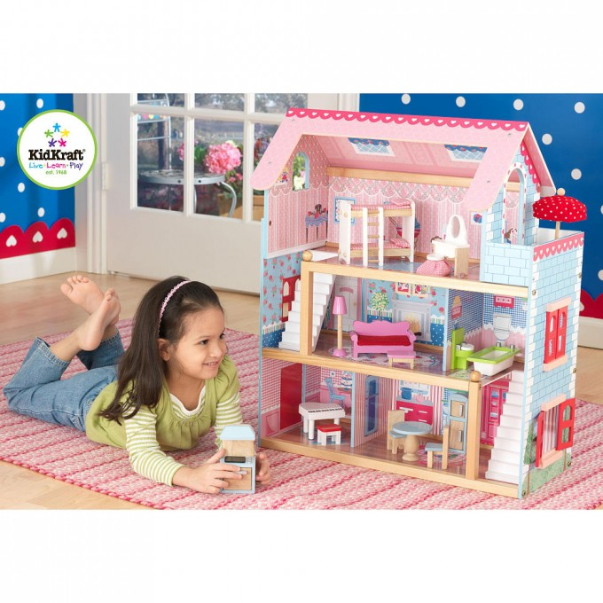 Awesome Kidkraft Dollhouse Made Of Wood In Pink And Blue Theme For Nursery Decor Ideas