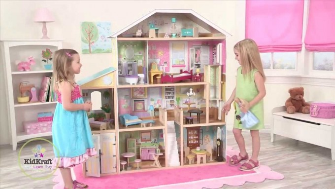 Awesome Kidkraft Dollhouse Made Of Wood With Four Tier Design And White Stair For Nursery Decor Ideas