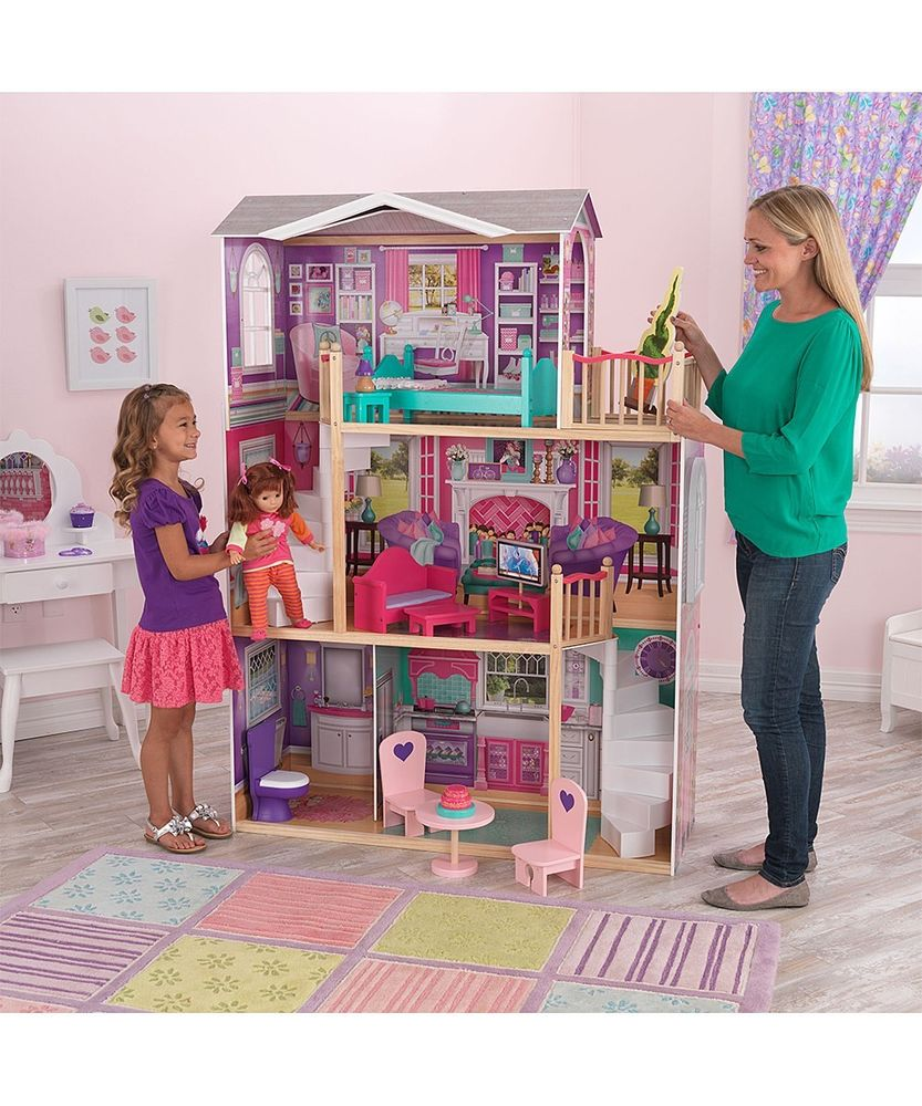 Awesome Kidkraft Majestic Mansion Dollhouse 65252 Made Of Wood On Wooden Floor With Checked Rug For Kids Room Decor Ideas