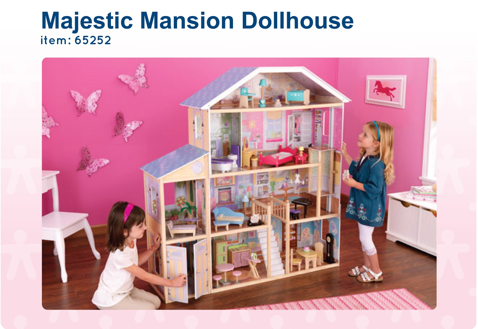 Awesome Kids Play Room Decor With Pink Wall Matched With Wooden Floor Plus Kidkraft Majestic Mansion Dollhouse 65252 Ideas