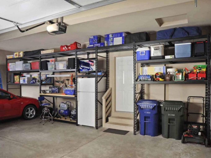 Awesome Large Edsal Shelving In Gray Made Of Iron For Garage Furniture Ideas